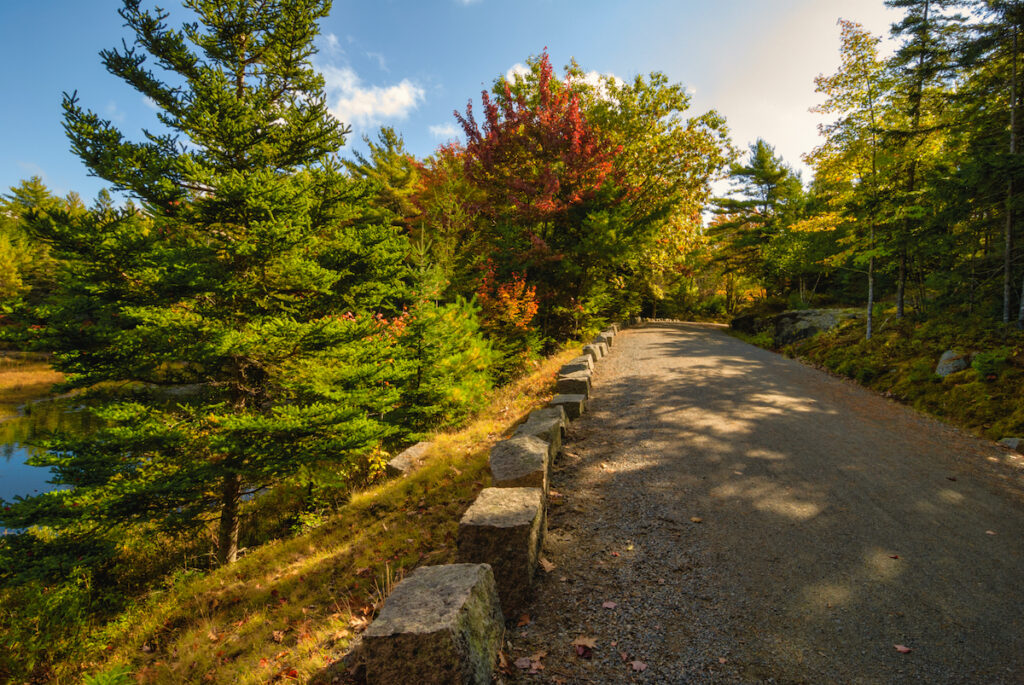 Autumn Views from Carriage Path in Acadia National Park on Mount Desert Island in Maine, USA