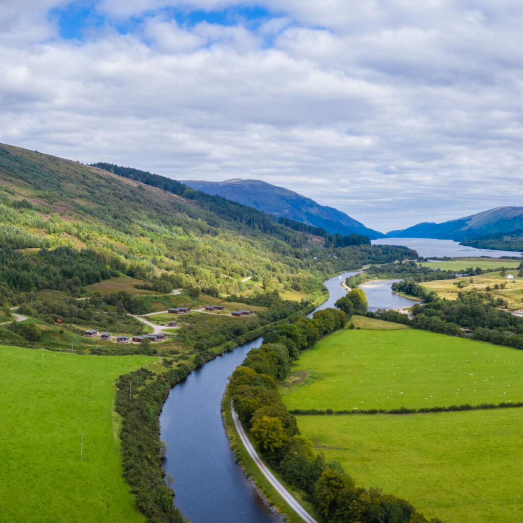 Aerial near Fort William on the caledonian canal in the argyll region of the highlands of Scotland.