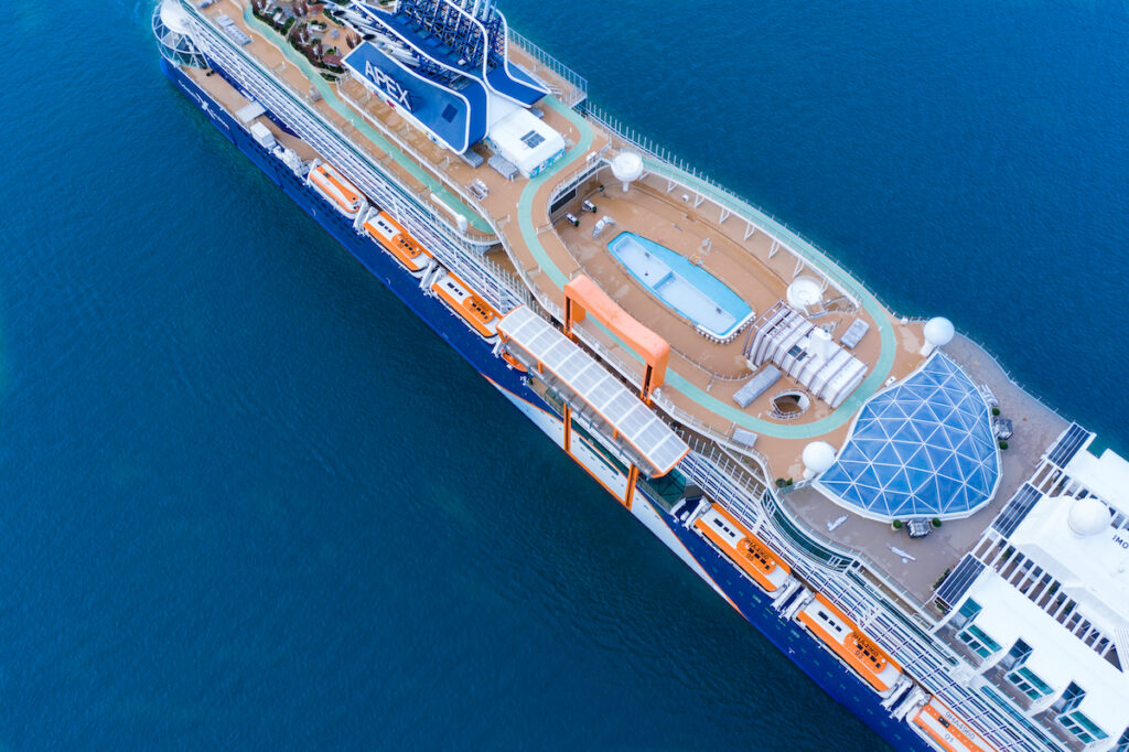 Top view of Celebrity Apex cruise ship with pool.
