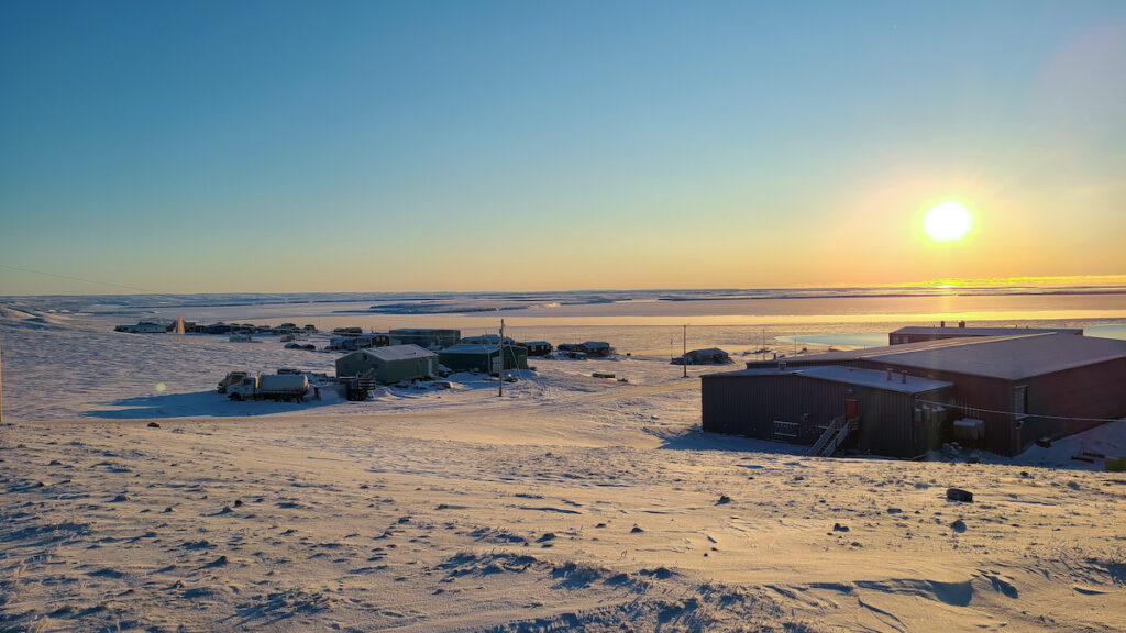 Sachs Harbour Northwest Territories Canada. Hamlet of Sachs Harbour on Banks Island NT at sunrise.