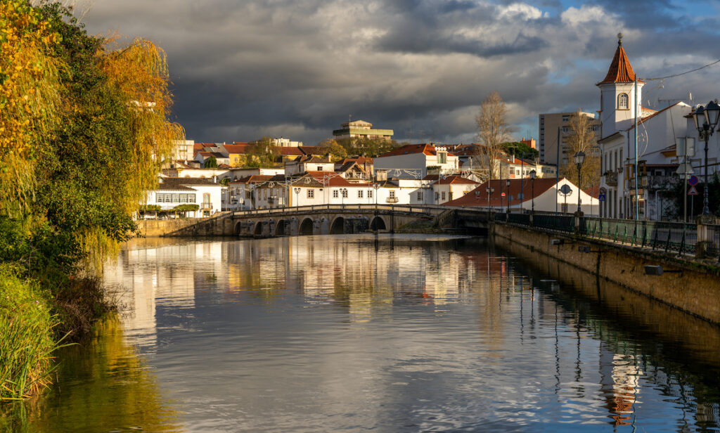 View of the historic city of Tomar in central Santarem, Portugal during Fall.