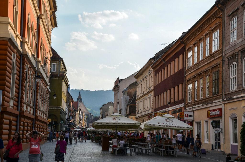 People on the street of Brasov, Romania