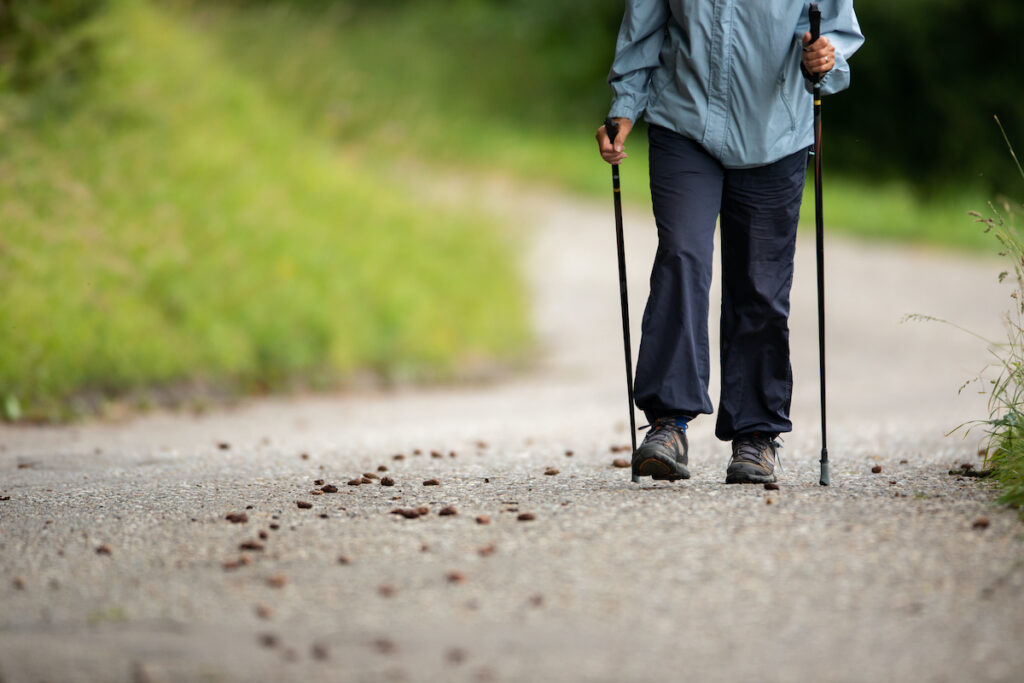 Senior person staying fit with walk with sticks.