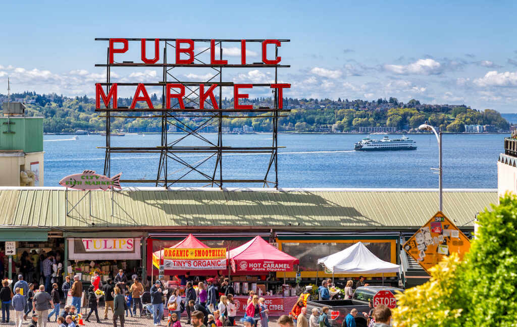 Historic Pike Place Public Market selling locally sourced, artisanal and specialty foods, flowers and crafts.