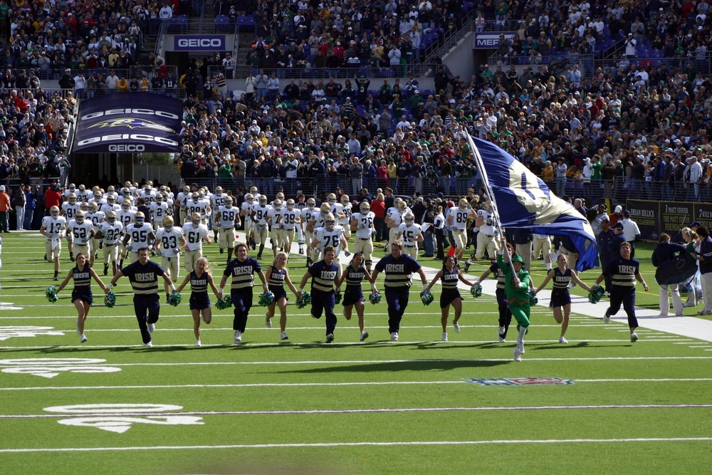 The University of Notre Dame football team takes the field in South Bend, IN