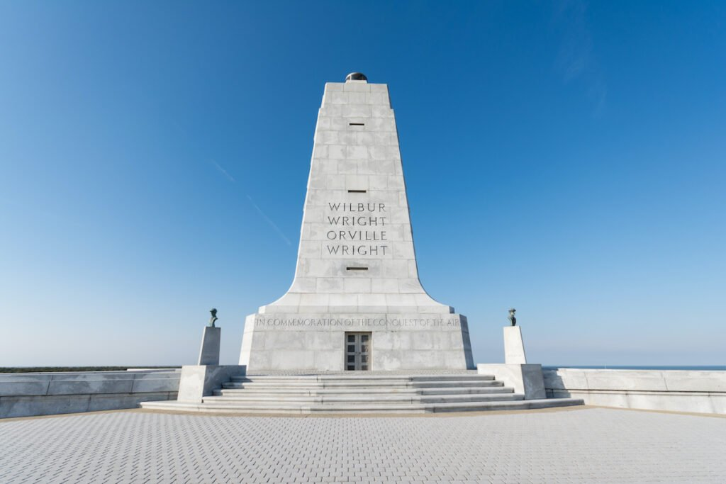 Wrights brothers national monument for the first aviation in the history in Outer Banks, NC USA