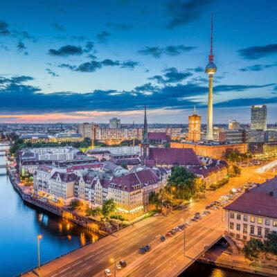 Aerial view of Berlin, Germany skyline in Europe