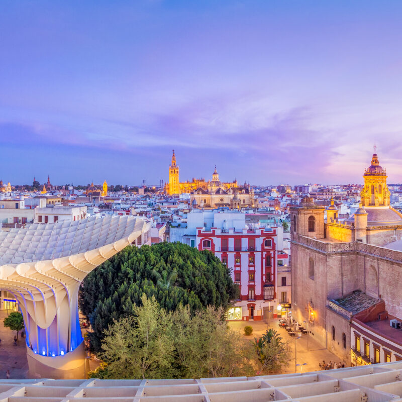View of the old city center and the cathedral from the top of the Space Metropol Parasol (Setas de Sevilla)