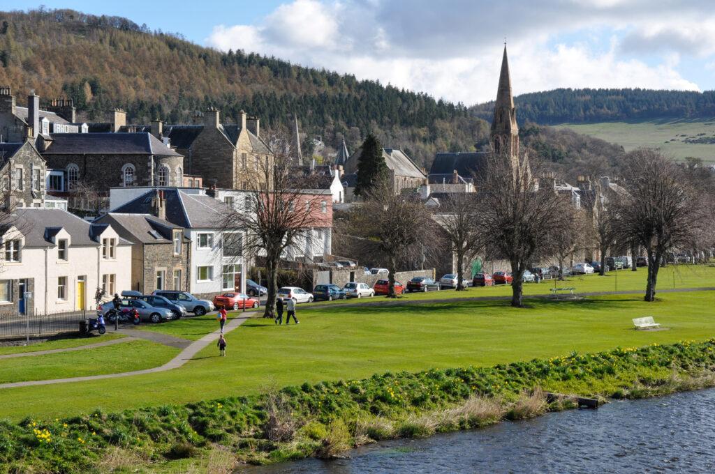 Town of Peebles beside the River Tweed, Scottish Borders, Scotland, U.