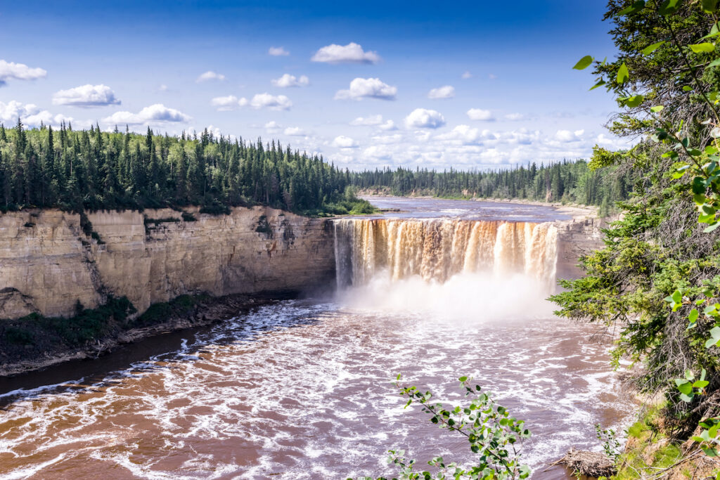 Alexandra Falls tumble 32 meters over the Hay River in the North West Territories.