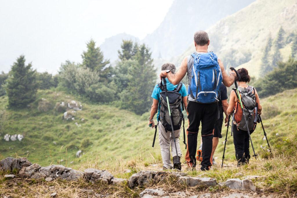 Active seniors on trip, trek mountains.