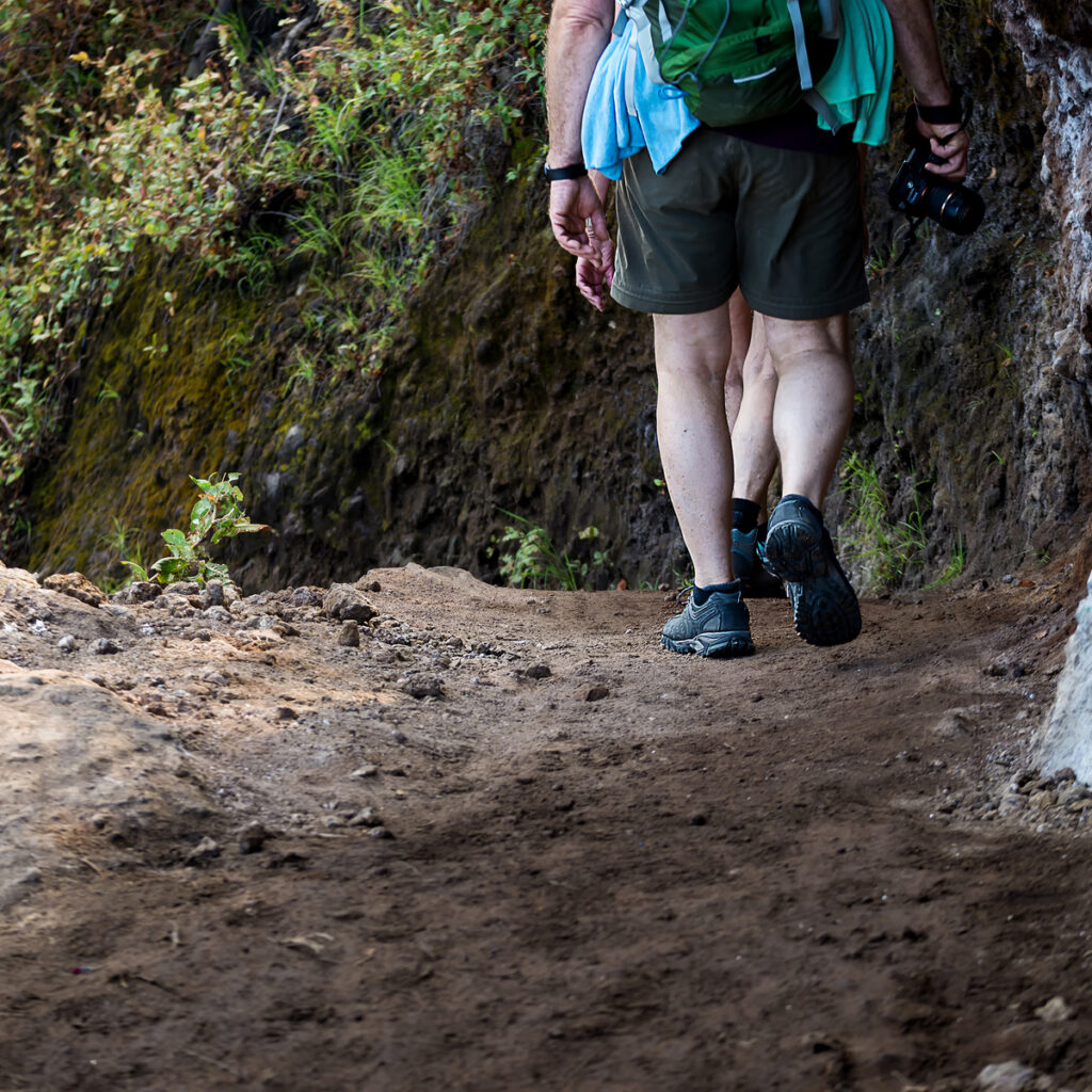Hikers with backpacks walking in mountains.