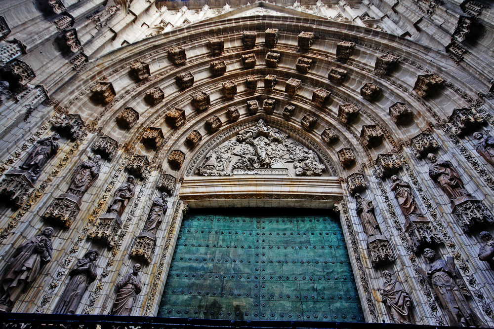 Door of Assumption or Main Door of the Cathedral of Saint Mary of the See (Catedral de Santa Maria de la Sede), or Seville Cathedral, Seville (Sevilla), Andalusia, Southern Spain
