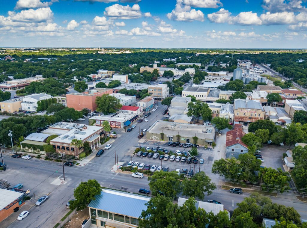 Aerial view of New Braunfels, Texas.