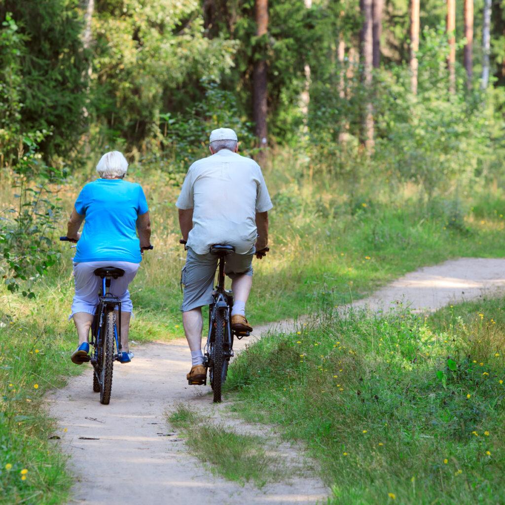 Active senior couple riding bikes in nature.