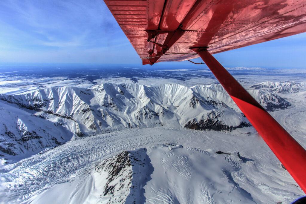 Preparing to land over Ruth Glacier, Alaska