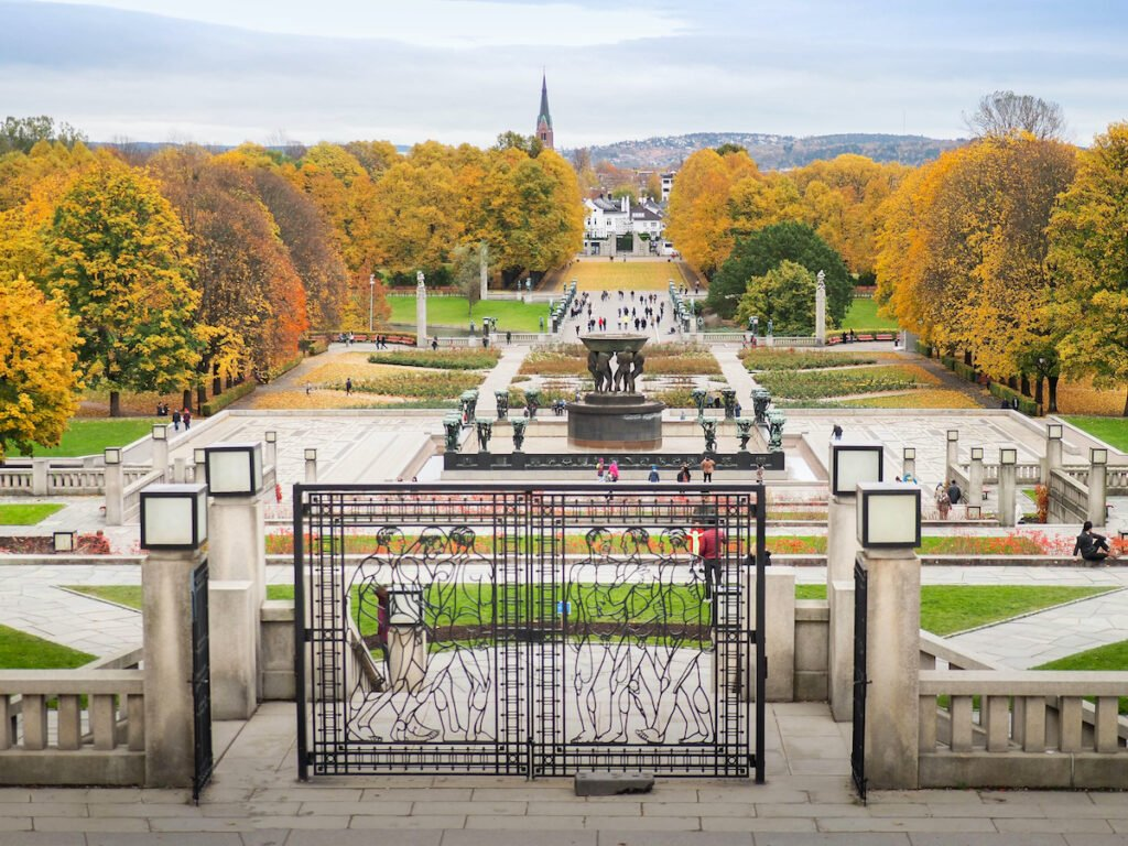 Leaves changing color at The Vigeland Park, Oslo, Norway on October 21, 2017.