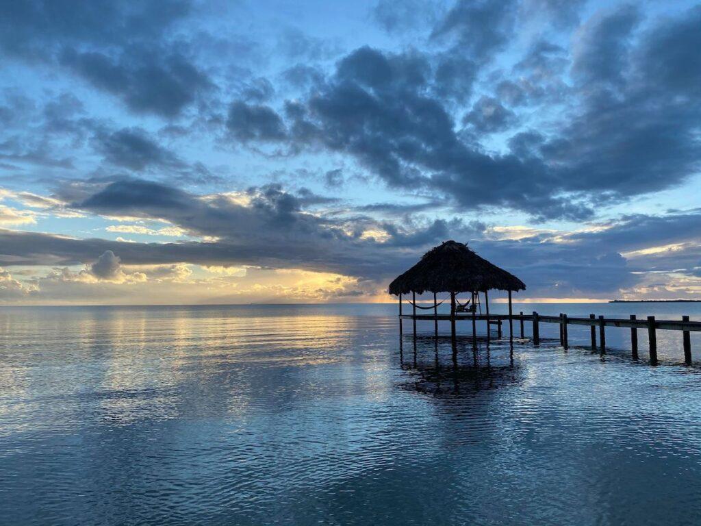 Sunrise in Placencia, Belize, at Maya Beach Hotel.