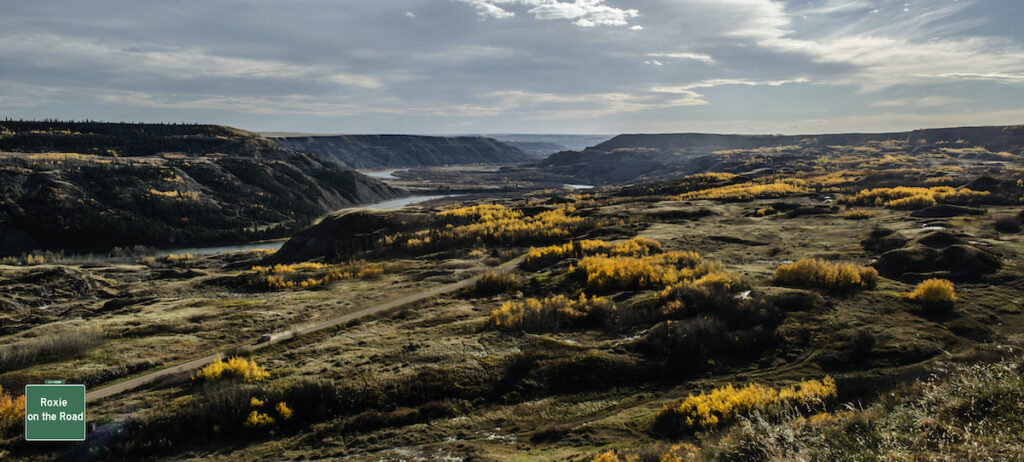 Dry Island Buffalo Jump Provincial Park, Trochu with yellow leafed trees and curving water valley.