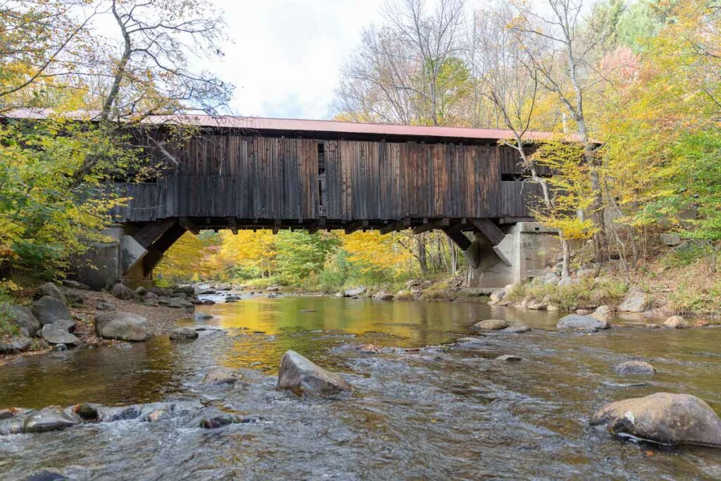Durgin Bridge in Sandwich, New Hampshire, shot from the Cold River.