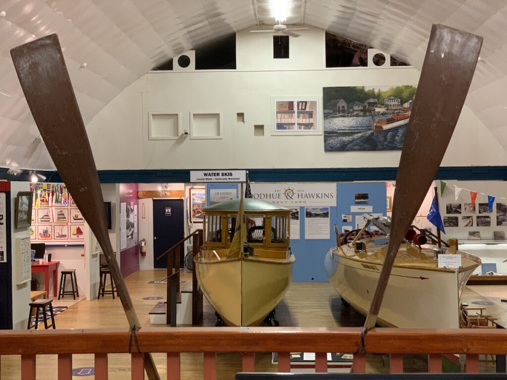 Inside the boat shaped New Hampshire Boat Museum.