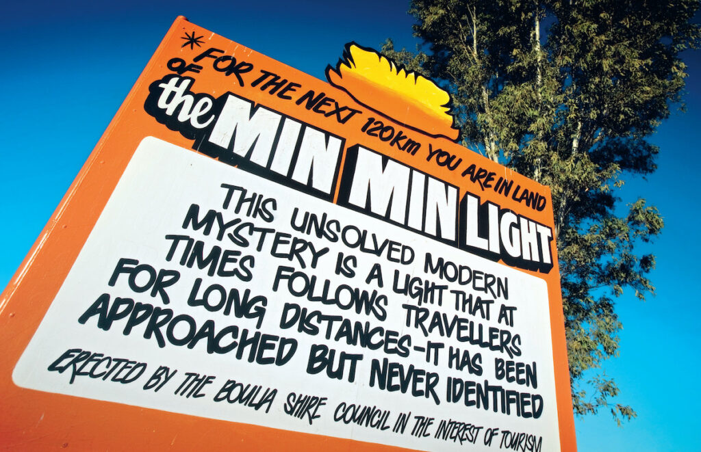 Min Min Lights sign in the outback of Australia