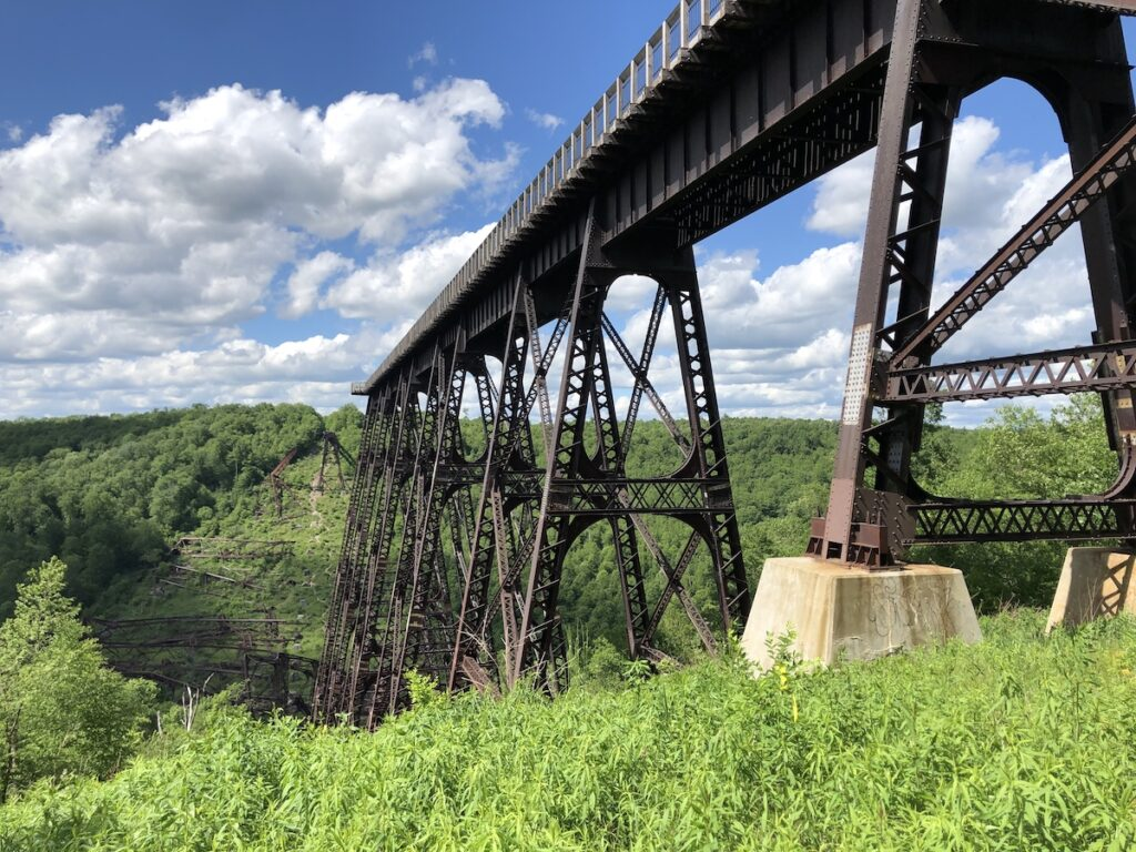 View from ground level looking up at Kinzua Bridge.