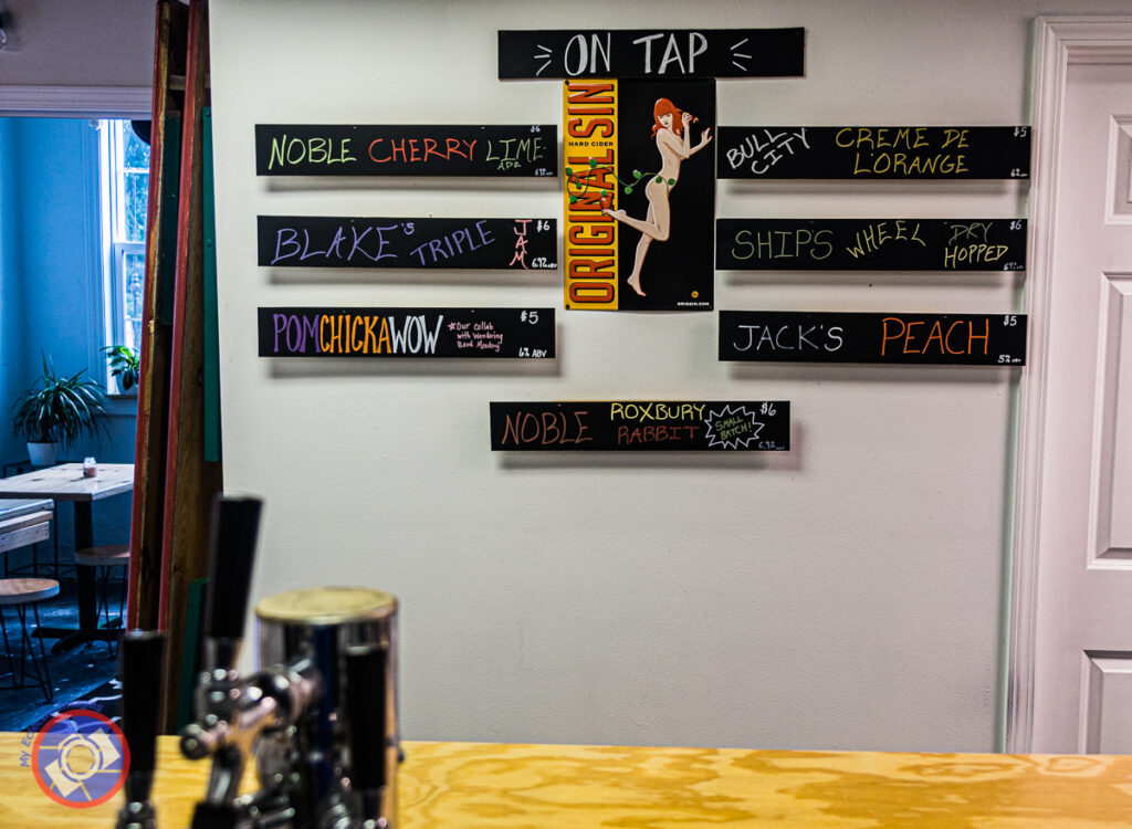 The constantly changing menu board at Distinct Cider Room in Greenville, South Carolina.