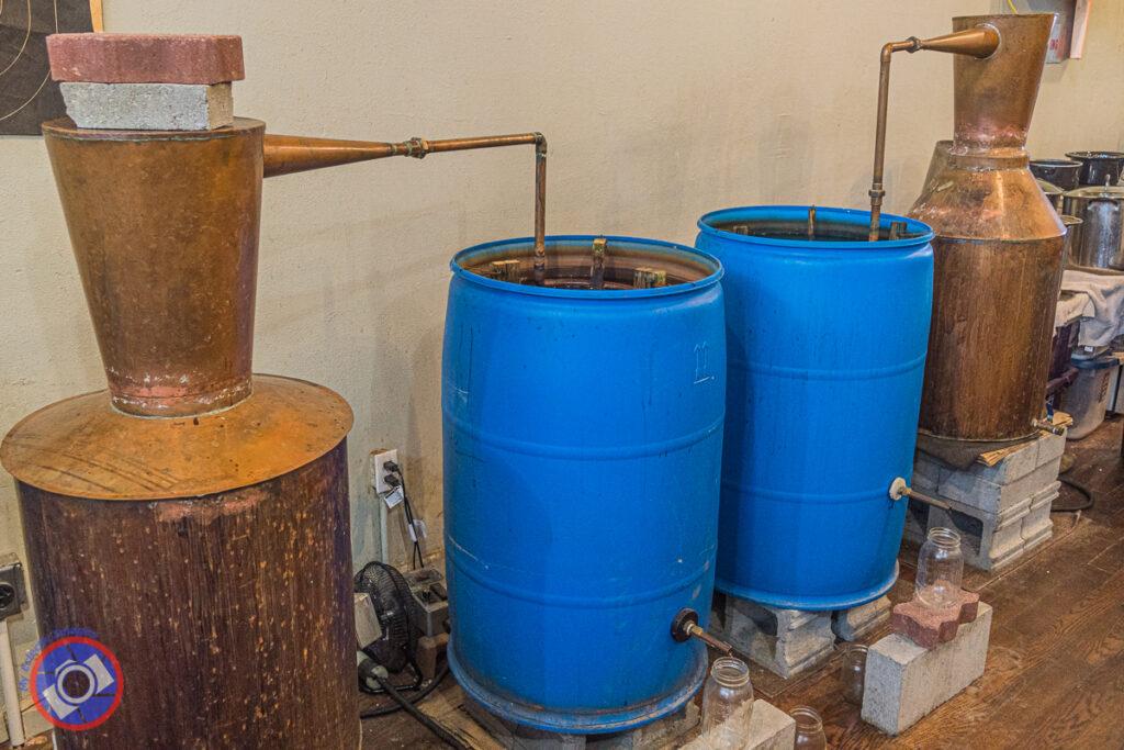 The stills at Copperhead Mountain Distillery near Greenville, South Carolina.