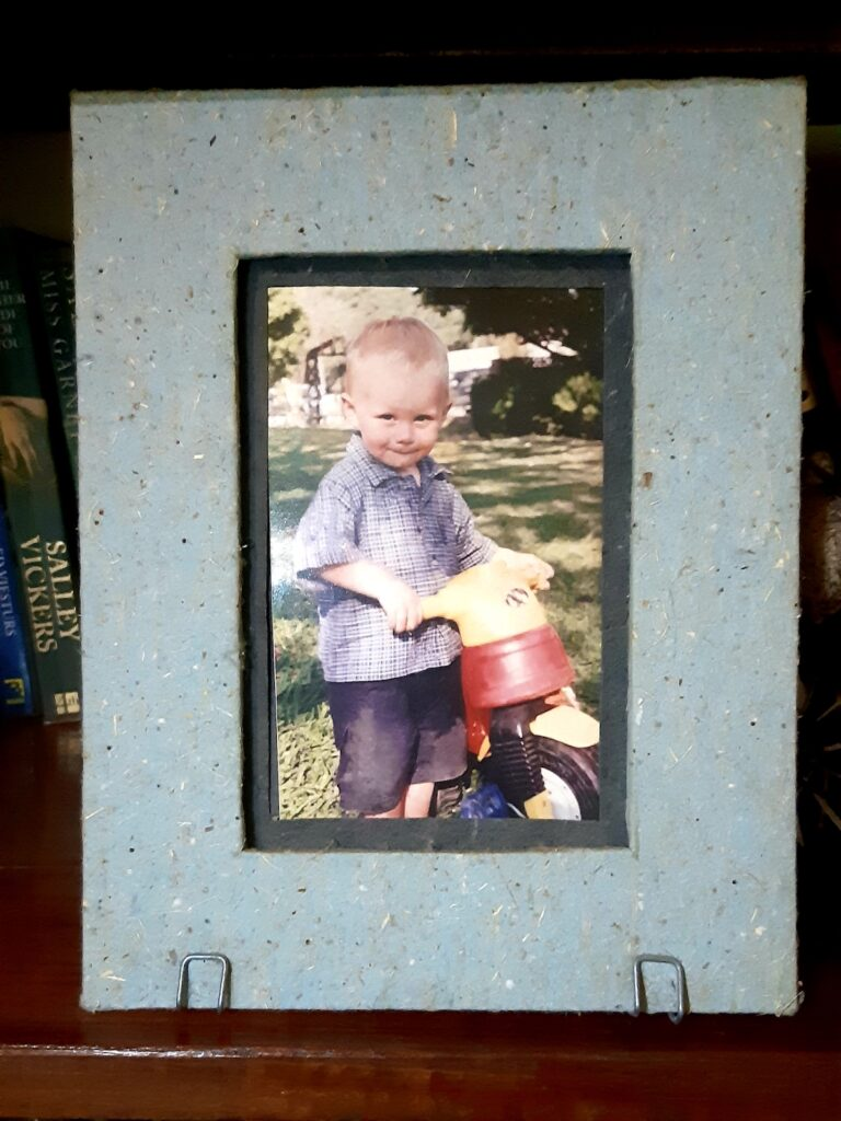 Photo frame made from elephant dung paper.