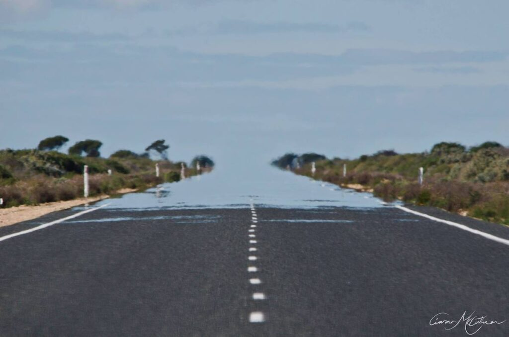 Mirage on a road on the Nullarbor Plain