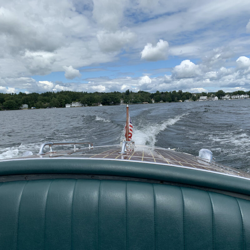 View of lake from back of boat, Wolfeboro, New Hampshire