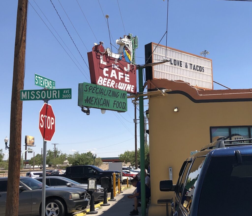 L and J Cafe - exterior sign - El Paso
