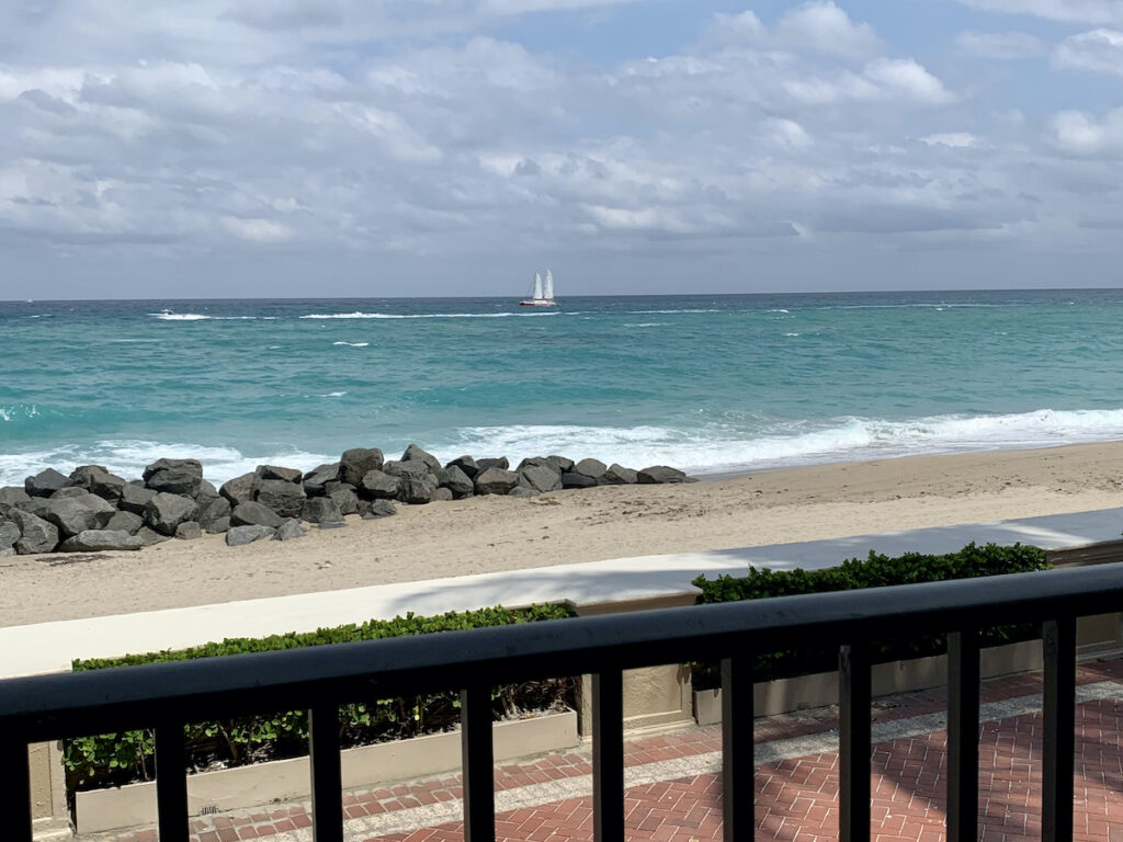 Ocean view from a balcony in Singer Island, Florida.