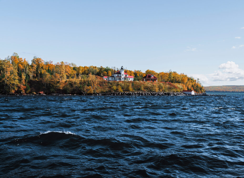 Raspberry Island Public Lighthouse at Apostle Islands National Lakeshore in Bayfield, Wisconsin, during fall.