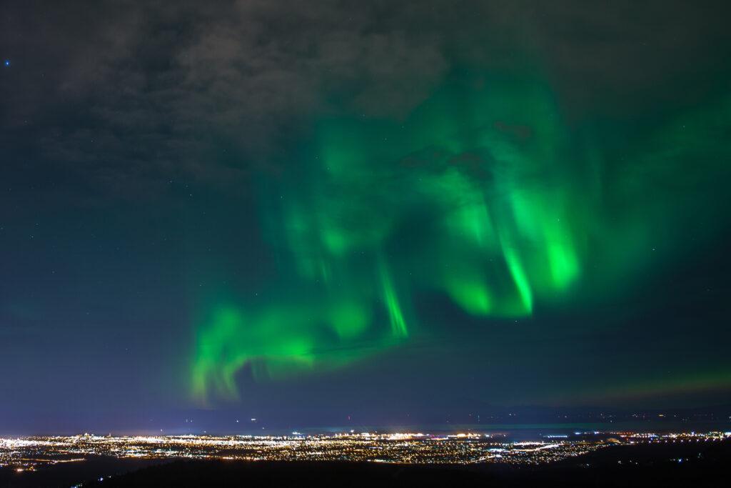 aurora borealis Over Anchorage in Alaska