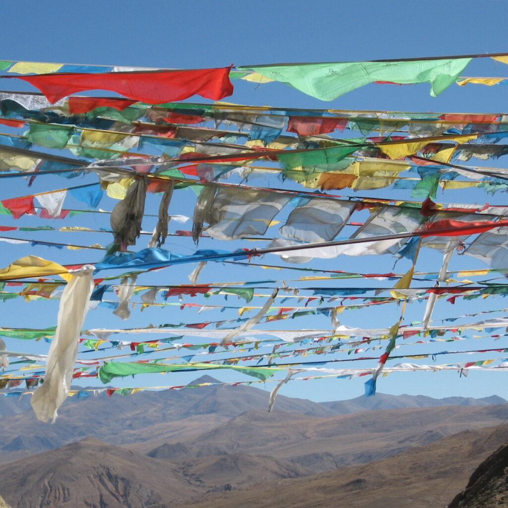 Buddhist prayer flags in Tibet.