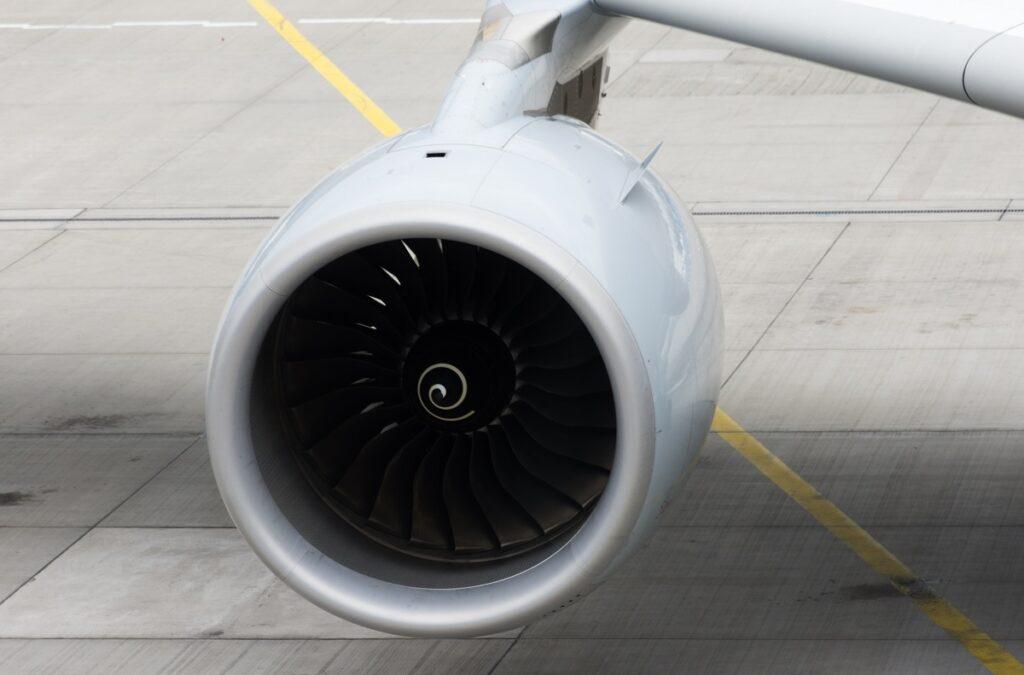 Closeup of a jet engine