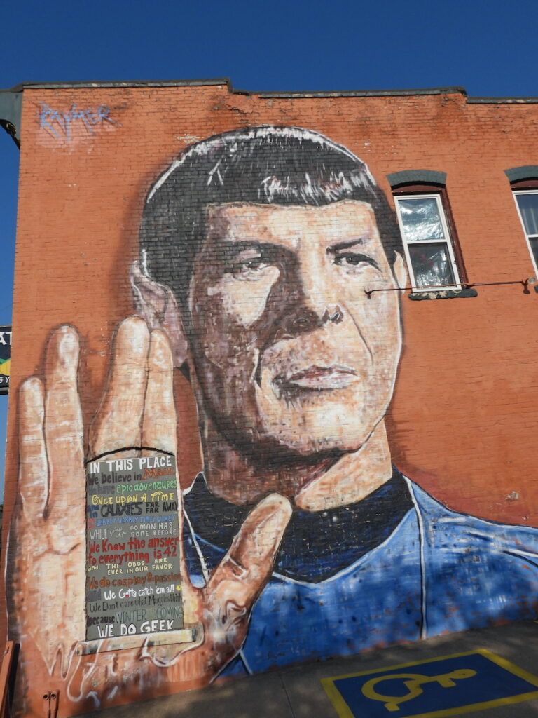 Spock mural along the Leavenworth, Kansas, Art Walk on Shawnee Street.