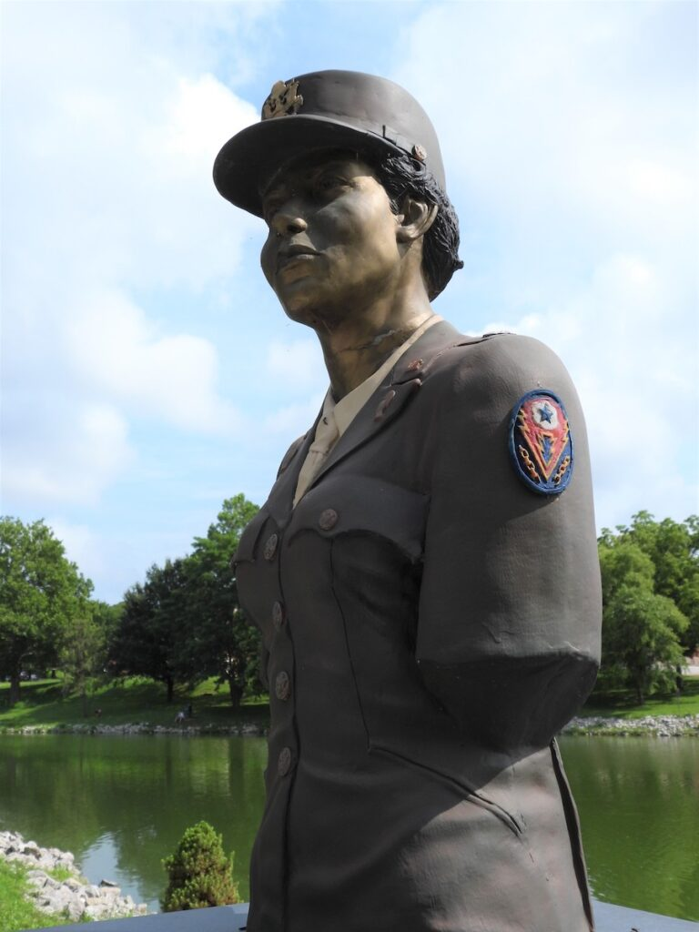 Monument honoring the only all-woman African American unit deployed overseas during World War II, Leavenworth, Kansas.