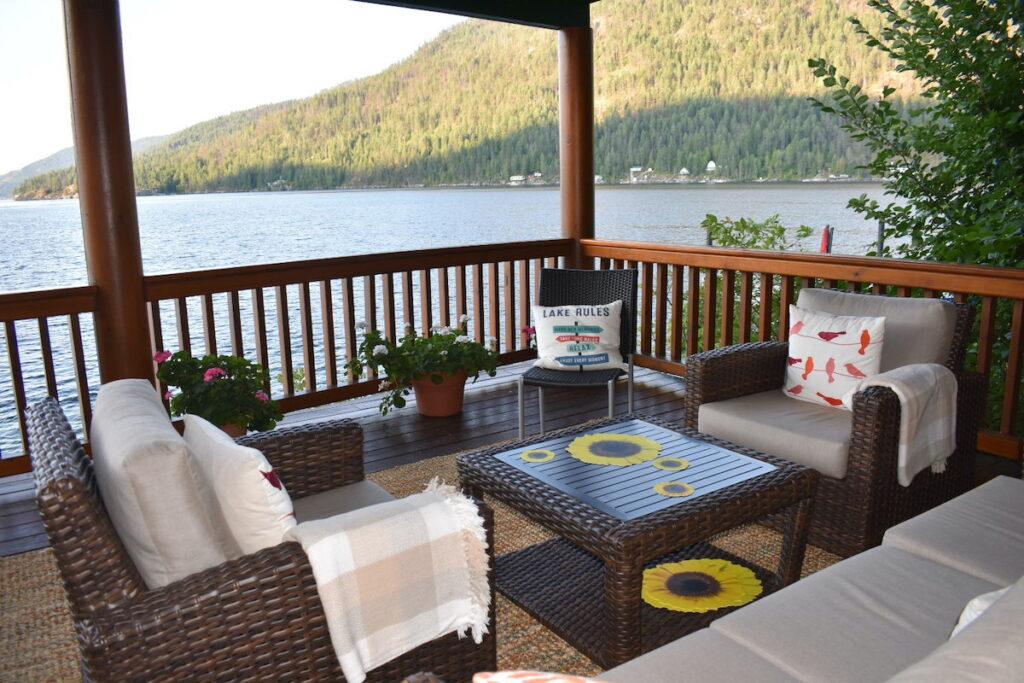 Outdoor patio at The Sunflower Inn at Christina Lake, British Columbia.