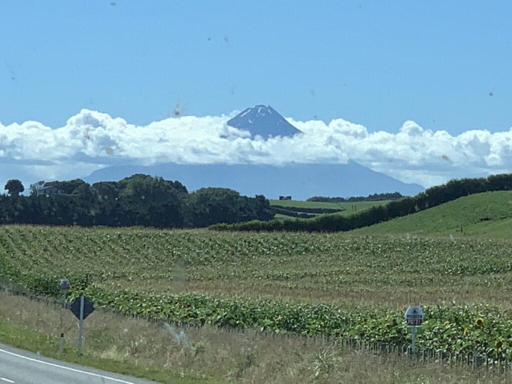 A view of the long white cloud at Mt Taranaki.