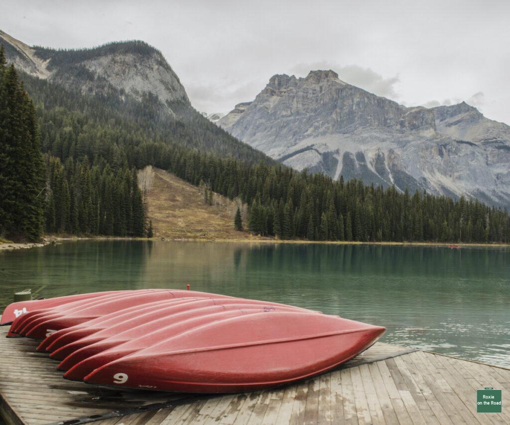 Canoes at Emerald Lake; Yoho National Park