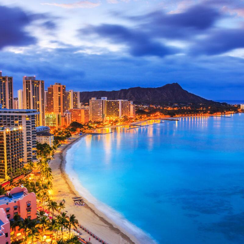 Hotels along Waikiki skyline