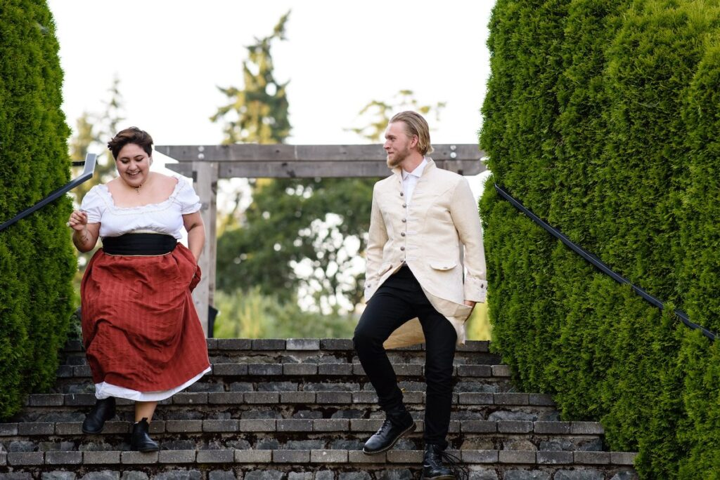 Danica Charlie and Nathaniel Exley in Cymbeline, Greater Victoria Shakespeare Festival 2021