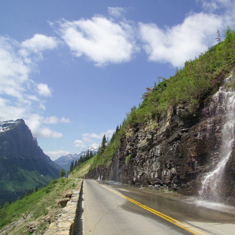 The Weeping Wall on the Going-to-the-Sun Road in Glacier National Park.