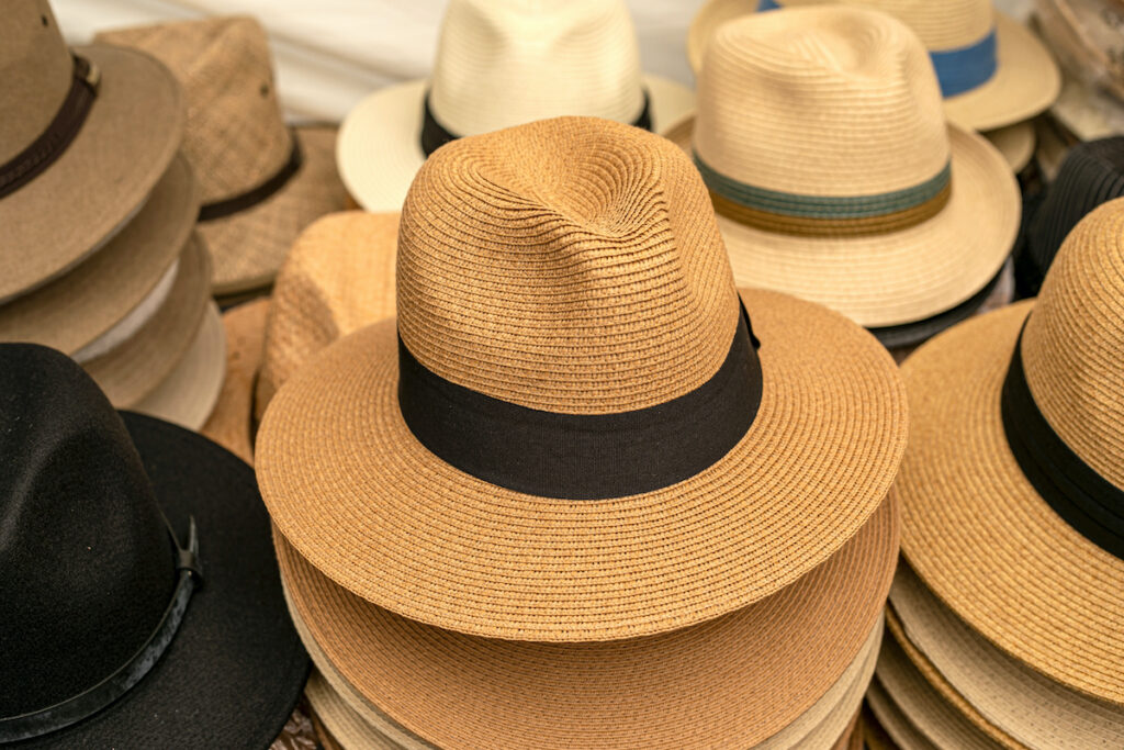 Panama hats for sale in a shop
