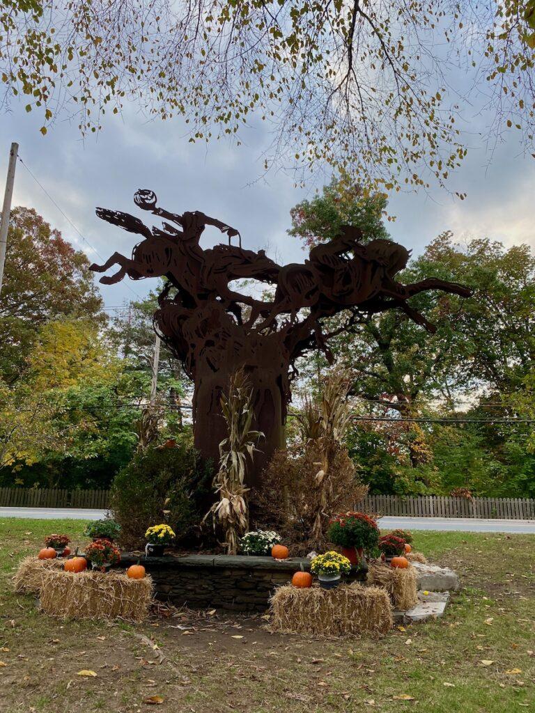 Headless Horseman sculpture located in near Philipsburg Manor, Sleepy Hollow, New York.