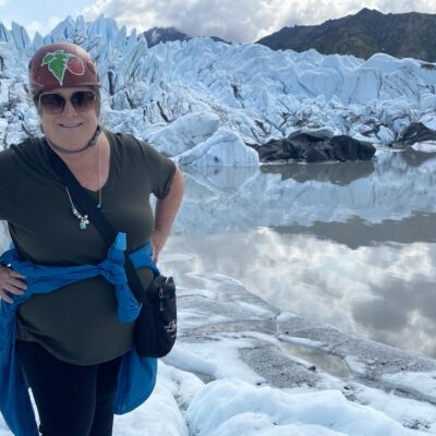 Author on a challenging glacier walk