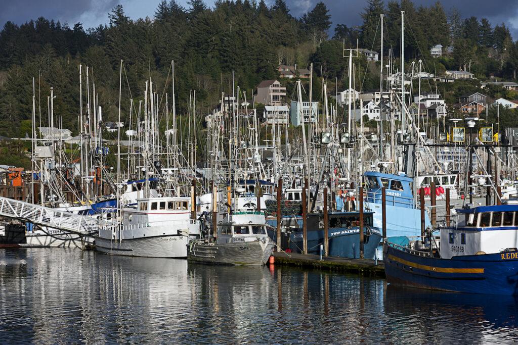 Boats at the historic bayfront of Newport, Oregon
